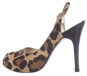 Luciano Padovan Ponyhair Slingback Pumps