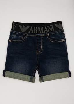 Armani Junior Denim Bermuda Shorts With Logo Waistband