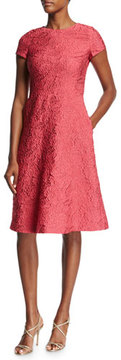 Escada Floral Matelassé Short-Sleeve Dress, Pink Myrtle