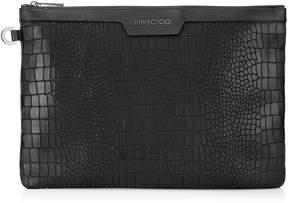 Jimmy Choo DEREK Black Leather Crocodile Embossed Document Holder