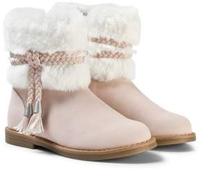 Mayoral Pink Faux Fur Cuff Boots