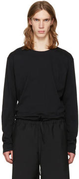 Issey Miyake Black Cotton Long Sleeve T-Shirt