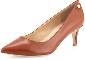 Neiman Marcus Stroll Pointed-Toe Leather Pump, Luggage