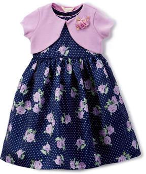 Laura Ashley Navy Floral A-Line Dress & Lavender Shrug - Infant