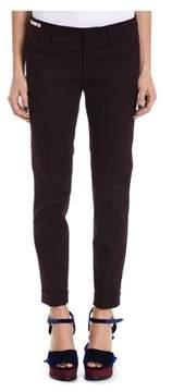 Berwich Women's Burgundy Cotton Pants.