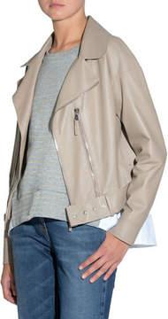 Eleventy Smooth Leather Moto Jacket