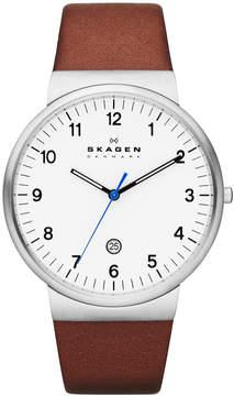 Skagen Men's Brown Leather Strap Watch 40mm SKW6082