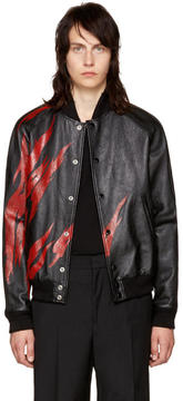 Saint Laurent Black Lambskin Flame Bomber Jacket