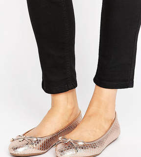 Dune London Dune Wide Fit Wide Fit Rose Gold Ballerina Flat Shoes