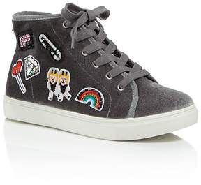 Steve Madden Girls' Velvet High-Top Sneakers with Patch Details - Little Kid, Big Kid