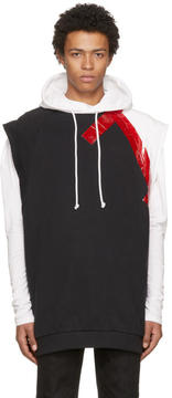 Raf Simons Black and White Sleeveless Taped Hoodie