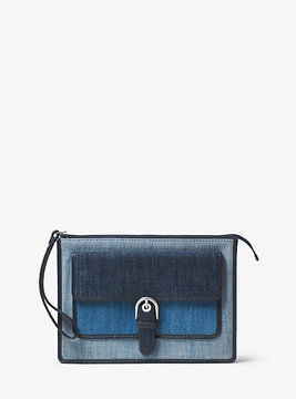 Michael Kors Cooper Medium Denim Wristlet - BLUE - STYLE