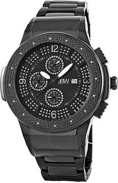 JBW Saxon Black Sunray Crystal Dial Black IP Stainless Steel Diamond Bezel Men's Watch