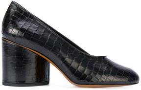 Robert Clergerie croc effect chunky heel pumps