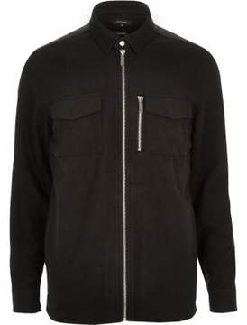 River Island Mens Black zip front flannel shirt jacket