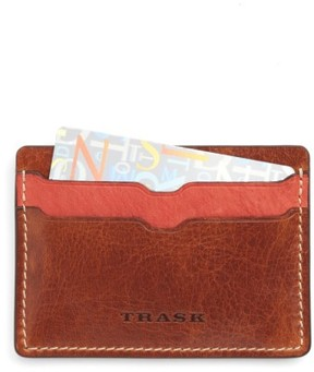 Trask Men's 'Jackson' Bison Leather Card Case - Yellow