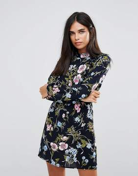 AX Paris Long Sleeve Shift Dress With Frill Detail In Floral Print
