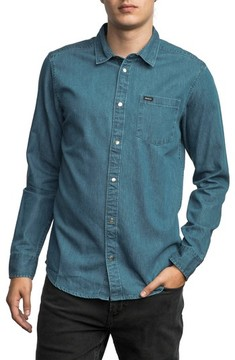 RVCA Men's Mason Snap Front Chambray Shirt