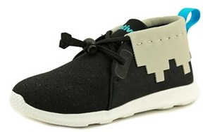 Native Apollo Mid Youth Round Toe Canvas Black Sneakers.