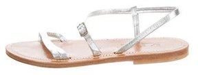 K Jacques St Tropez Metallic Ankle Strap Sandals