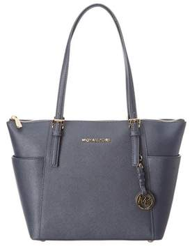 MICHAEL Michael Kors Jet Set Leather Tote. - NAVY - STYLE