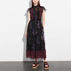COACH MIXED PRINT LACEWORK DRESS WITH NECKTIE - BLACK MULTI