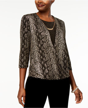 Alfred Dunner Deck the Halls Printed Layered-Look Surplice Necklace Top