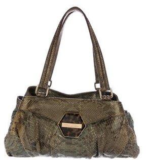 Oscar de la Renta Metallic Python Shoulder Bag
