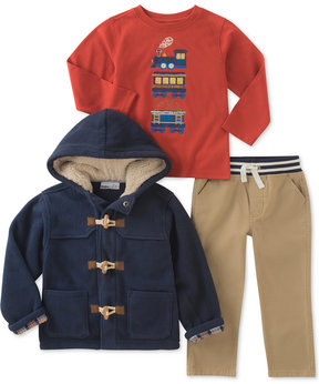 Kids Headquarters 3-Pc. Hooded Jacket, Train-Print T-Shirt & Pants Set, Baby Boys (0-24 months)