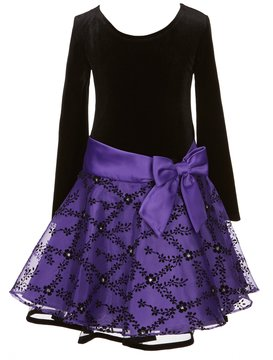 Bonnie Jean Little Girls 2T-6X Velvet/Flocked Drop Waist Dress