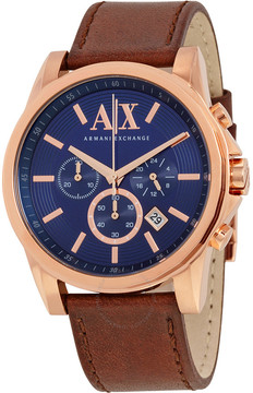 Armani Exchange Outerbanks Chronograph Blue Dial Brown Leather Men's Watch