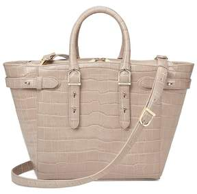 Aspinal of London Midi Marylebone Tech Tote In Deep Shine Soft Taupe Croc