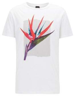 BOSS Hugo Bird Of Paradise Graphic T-Shirt Timen XXXL White