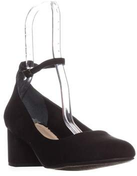 Bar III B35 Pansy Ankle Strap Kitten Heels, Black.