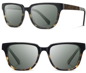 Shwood Men's 'Prescott' 52Mm Polarized Sunglasses - Black Olive / Elm Burl / G15