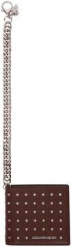 Alexander McQueen Burgundy Studded Classic Chain Wallet