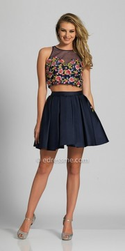 Dave and Johnny Two Piece Floral Embroidered Pleated Homecoming Dress