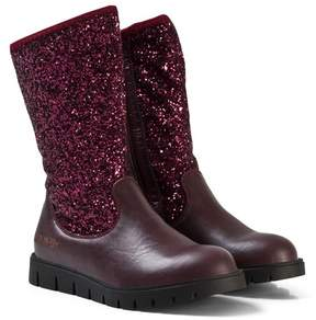 Lelli Kelly Kids Burgundy Glitter Glamour Mid Ankle Boots