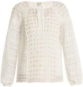 Temperley London Wondering lace-panel fil coupé chiffon top