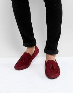 Asos Driving Shoes In Burgundy Suede With Tassel
