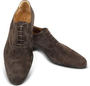 Moreschi Dublin Dark Brown Suede Cap-Toe Oxford Shoes