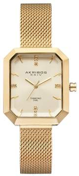 Akribos XXIV Women's Empire Diamond Mesh Watch