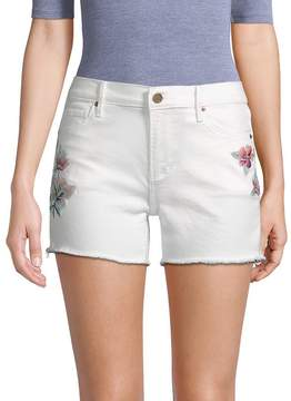 Driftwood Women's Floral Embroidered Jean Shorts - White, Size 28 (4-6)