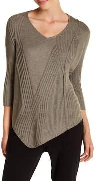 Democracy Asymmetrical Ribbed V-Neck Sweater