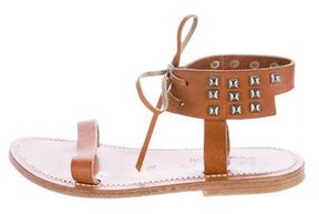 K Jacques St Tropez Leather Studded Sandals