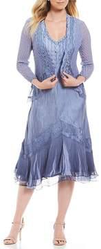 Komarov Violet Ombre Beaded V-Neck Jacket Dress