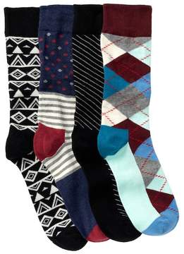 Happy Socks Assorted Printed Crew Socks Gift Box - Pack of 4 Pairs