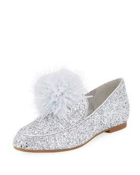 MICHAEL Michael Kors Fara Glitter Pouf Loafer, Silver