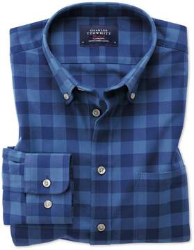 Charles Tyrwhitt Extra Slim Fit Button-Down Washed Oxford Blue Check Cotton Casual Shirt Single Cuff Size Large