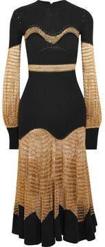 Alexander McQueen Metallic Open-knit And Ribbed Wool-blend Midi Dress - Gold